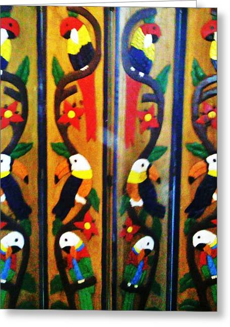 Screen Doors Greeting Cards - Parrots and Tucans  Greeting Card by Unique Consignment