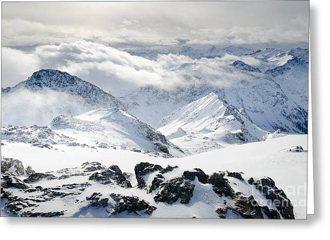 Clouds Photographs Greeting Cards - PARSENN WEISSFLUHGIPFEL view from the summit across the Swiss Alps Greeting Card by Andy Smy