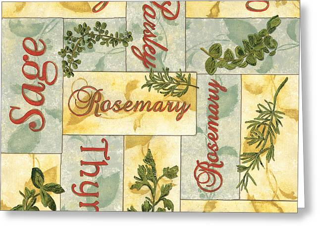 Sage Green Greeting Cards - Parsley Collage Greeting Card by Debbie DeWitt