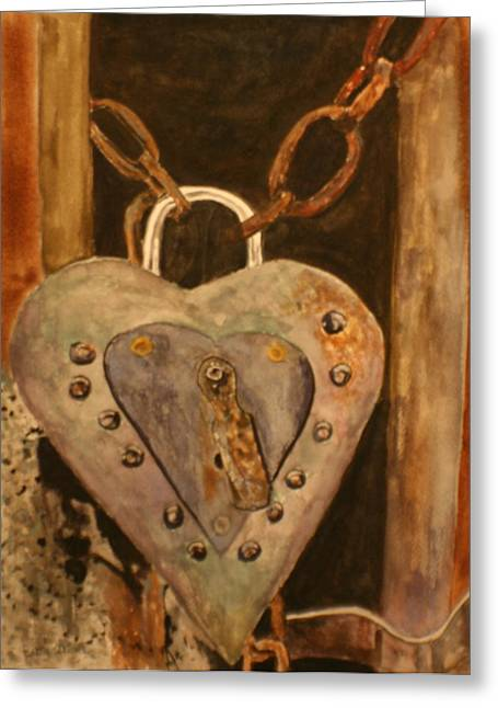 Rivets Paintings Greeting Cards - Parthenay Padlock Greeting Card by Betty-Anne McDonald