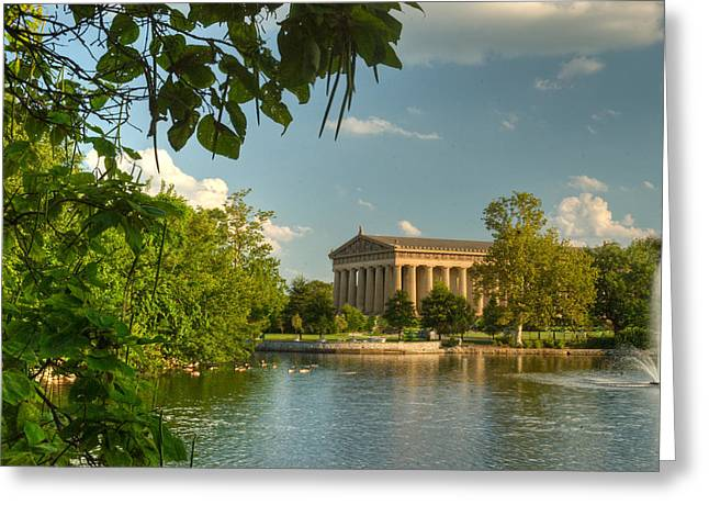 Willow Lake Greeting Cards - Parthenon at Nashville Tennessee 13 Greeting Card by Douglas Barnett