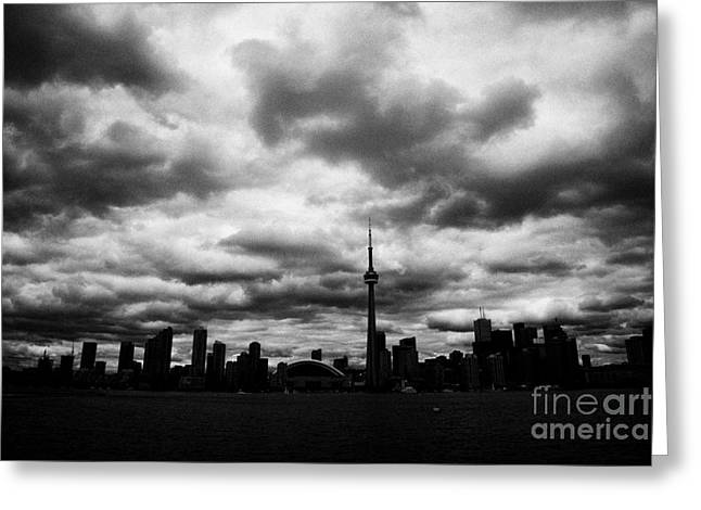 Partial Greeting Cards - Partial Silhouette Of Toronto Skyline On A Cloudy Day Ontario Canada Greeting Card by Joe Fox