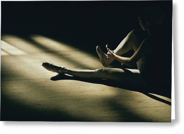 Ballet Dancers Greeting Cards - Partially Hidden In Shadow, A Ballet Greeting Card by Robert Madden