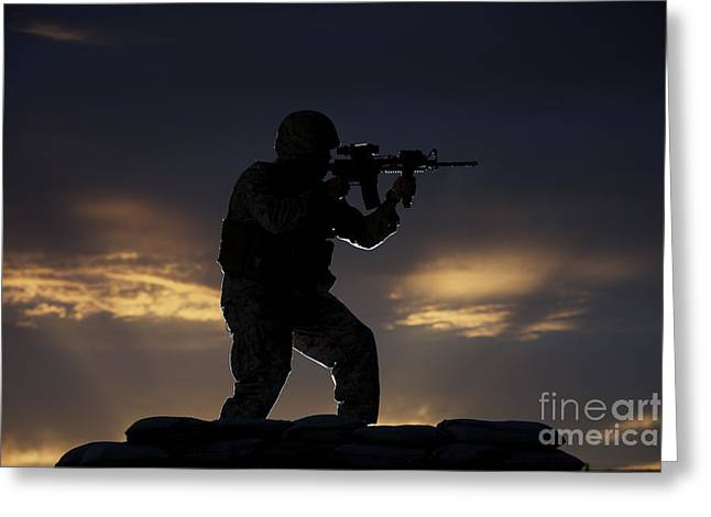 Vigilant Greeting Cards - Partially Silhouetted U.s. Marine Greeting Card by Terry Moore