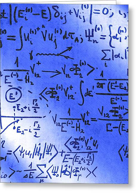Particle Physics Equations Greeting Card by Ria Novosti