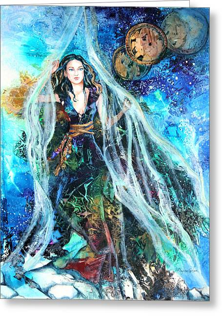 Veiled Mixed Media Greeting Cards - Parting The Veil Greeting Card by Patricia Allingham Carlson