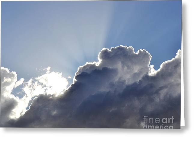 Clouds And Sun Greeting Cards - Partly cloudy Greeting Card by Rebecca Margraf