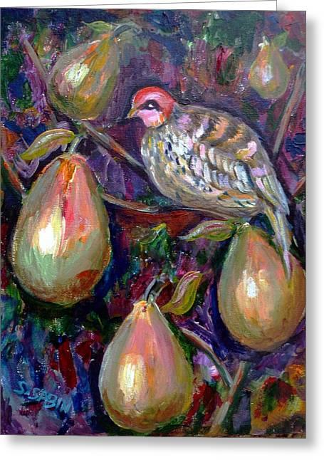 Print On Acrylic Greeting Cards - Partridge in a pear tree Greeting Card by Saga Sabin