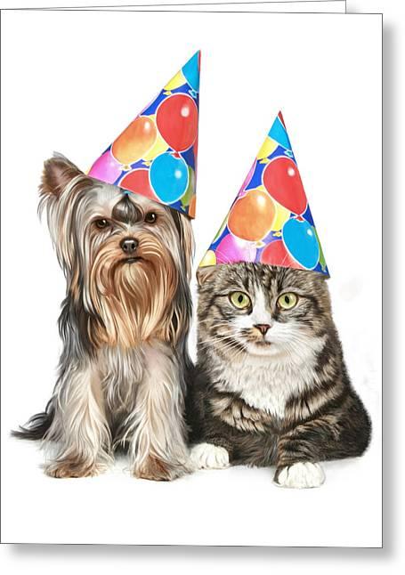 Puppy Digital Art Greeting Cards - Party Animals Greeting Card by Bob Nolin