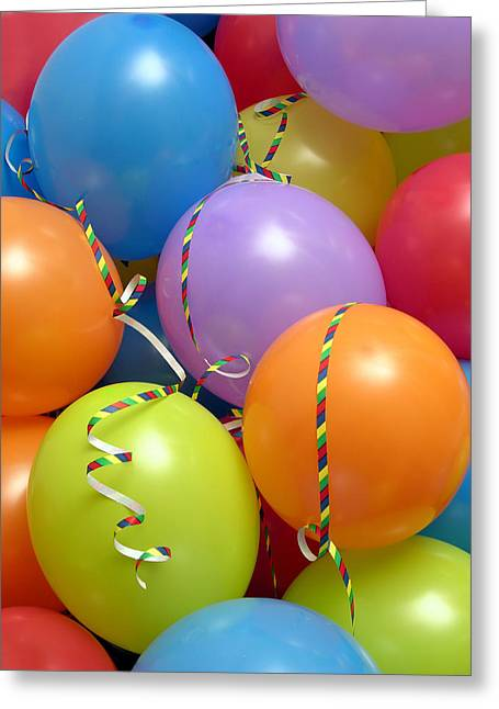 Streamer Greeting Cards - Party Balloons And Streamers Greeting Card by Tony Craddock