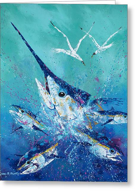 Swordfish Greeting Cards - Party Crasher Greeting Card by Kevin Brant