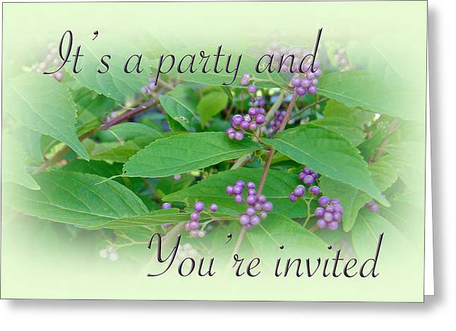 Party Invite Photographs Greeting Cards - Party Invitation - General - American Beautyberry Shrub Greeting Card by Mother Nature