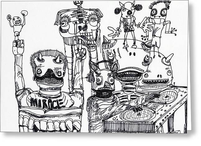 Halloween Folk Art Greeting Cards - Party Monsters Greeting Card by Robert Wolverton Jr