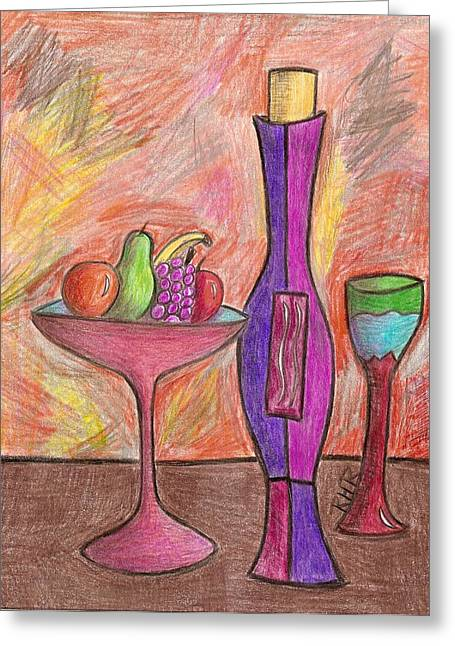 Wine-glass Drawings Greeting Cards - Party of One Greeting Card by Ray Ratzlaff