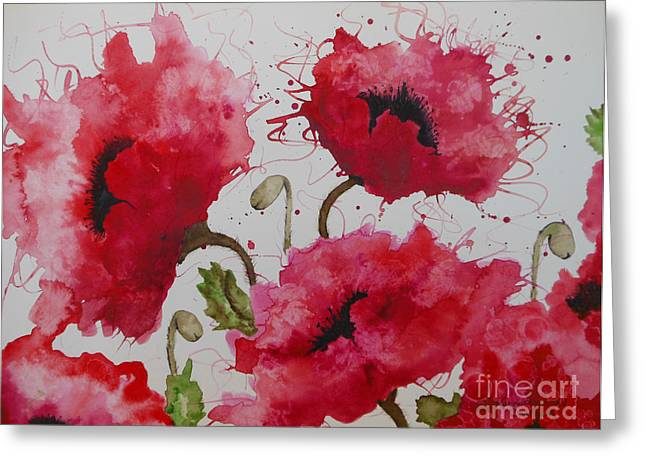 Chatham Greeting Cards - Party Poppies Greeting Card by Karen Kennedy Chatham