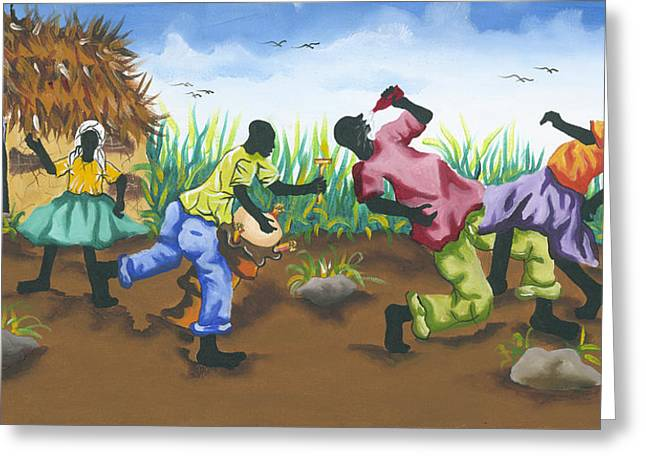 Haitian Paintings Greeting Cards - Partying Greeting Card by Herold Alveras