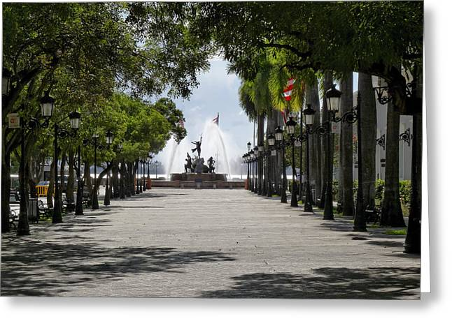 Paseo De La Princesa in San Juan Greeting Card by George Oze