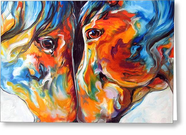 Paso Fino Greeting Cards - PASO FINO FRIENDS EQUINE ABSTRACT ART by M BALDWIN Greeting Card by Marcia Baldwin