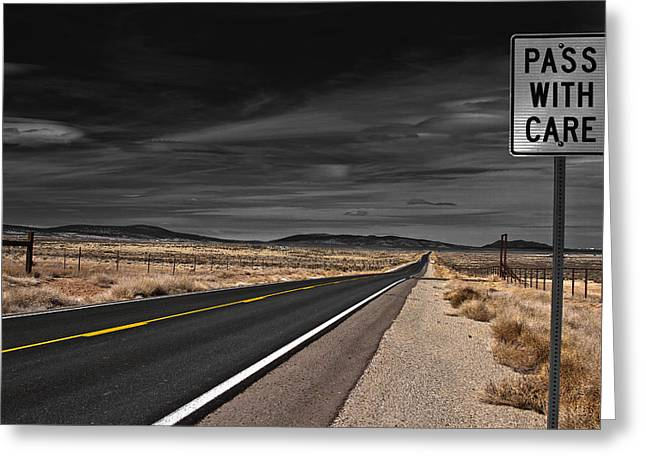 Road Greeting Cards - Pass With Care Greeting Card by Atom Crawford
