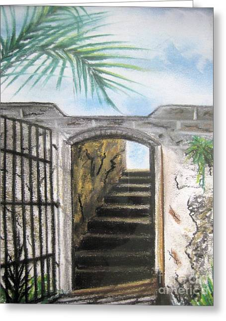 Gate Pastels Greeting Cards - Passage Greeting Card by Judy Via-Wolff