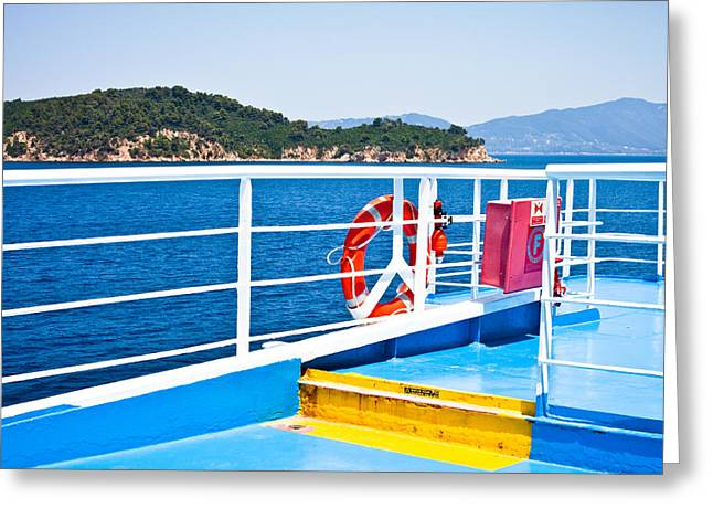 Aegean Greeting Cards - Passenger ferry Greeting Card by Tom Gowanlock