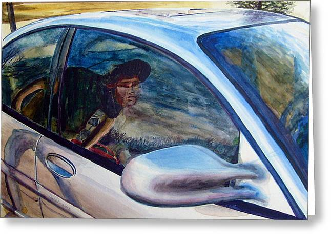 Glass Reflecting Paintings Greeting Cards - Passenger Greeting Card by GPaul Lucas