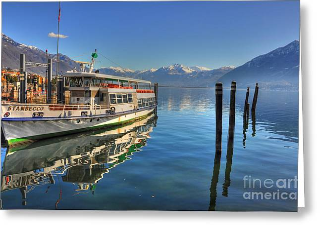 Passenger Ship Greeting Cards - Passenger ship reflected on the water Greeting Card by Mats Silvan