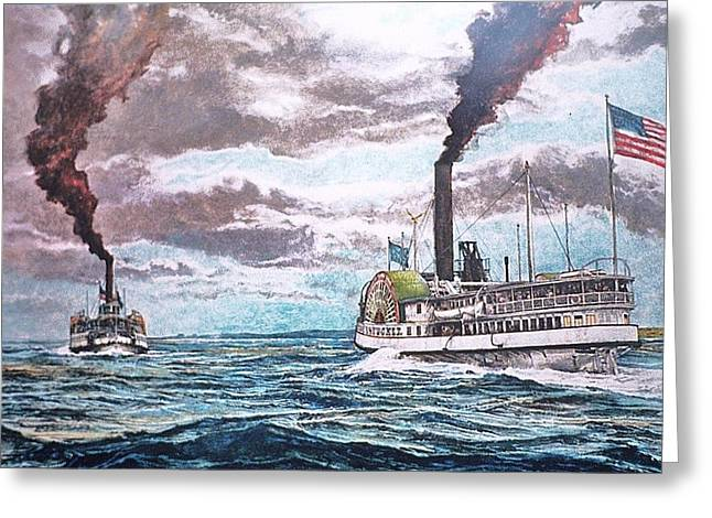 Steamboat Pastels Greeting Cards - Passing In Nantucket Sound c.1895 Greeting Card by Rex Stewart