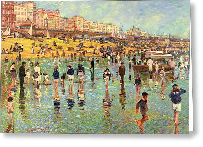 Family Vacation Greeting Cards - Passing Time on Brighton Beach Greeting Card by Robert Tyndall