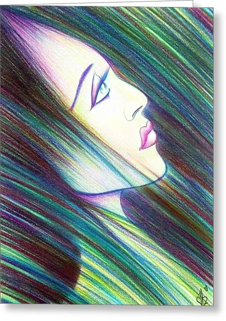 Loose Hair Greeting Cards - Passion AWAKENING Greeting Card by Danielle R T Haney
