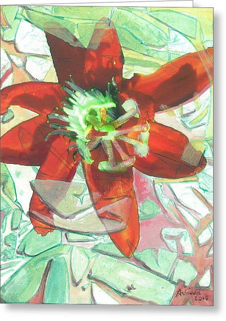 Passion Collision Greeting Card by Arlissa Vaughn
