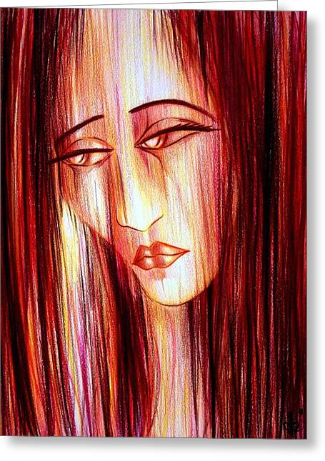 Loose Hair Greeting Cards - Passion DRAINING Greeting Card by Danielle R T Haney