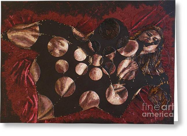 Pallet Knife Mixed Media Greeting Cards - Passion Explosion II Greeting Card by Tatjana Popovska