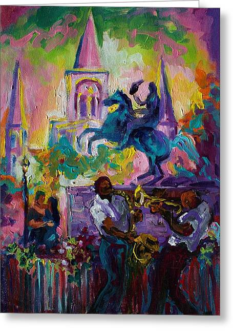 Zydeco Greeting Cards - Passion in the Park Jackson Square  Greeting Card by Saundra Bolen Samuel