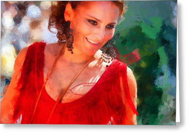 Passionate Gypsy Blood. Flamenco Dance Greeting Card by Jenny Rainbow