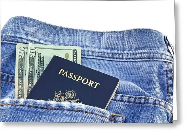Certificates Greeting Cards - Passport in jeans pocket Greeting Card by Blink Images