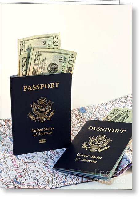 Insert Greeting Cards - Passports with map and money Greeting Card by Blink Images