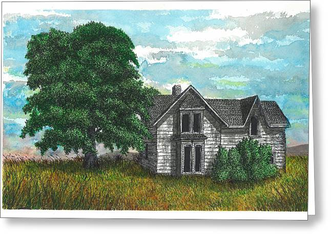 Abandoned Houses Drawings Greeting Cards - Past Greeting Card by Jonathan Baldock