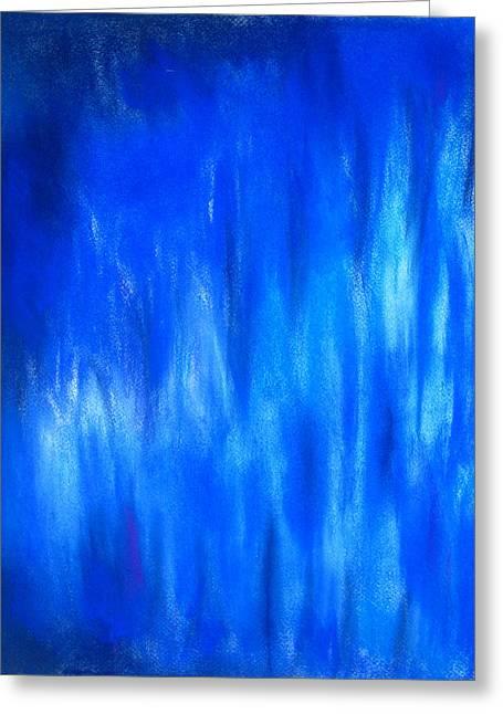 Abstractions Pastels Greeting Cards - Pastel Blue Blaze Greeting Card by Kazuya Akimoto