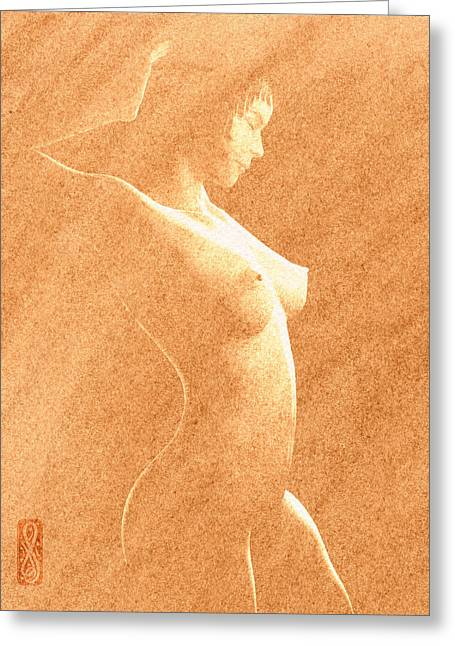 Curvaceous Greeting Cards - Pastel Chiaroscuro Nude Greeting Card by Hakon Soreide