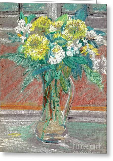 Table Top Pastels Greeting Cards - Pastel Chrysanthemums Greeting Card by Elena Irving