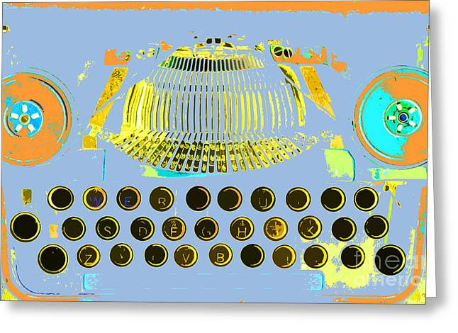 Typewriter Mixed Media Greeting Cards - Pastel Pop Typewriter Art Greeting Card by ArtyZen Studios