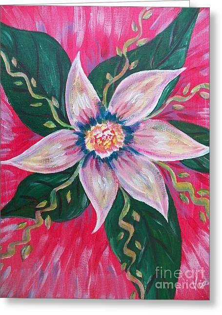 Fushia Paintings Greeting Cards - Pastel Rainbow Flower Greeting Card by Judy Via-Wolff