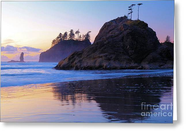Forks Washington Greeting Cards - Pastel Sea Stacks Greeting Card by Adam Jewell