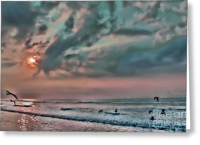 Jeff Breiman Greeting Cards - Pastel Sky with Birds Greeting Card by Jeff Breiman