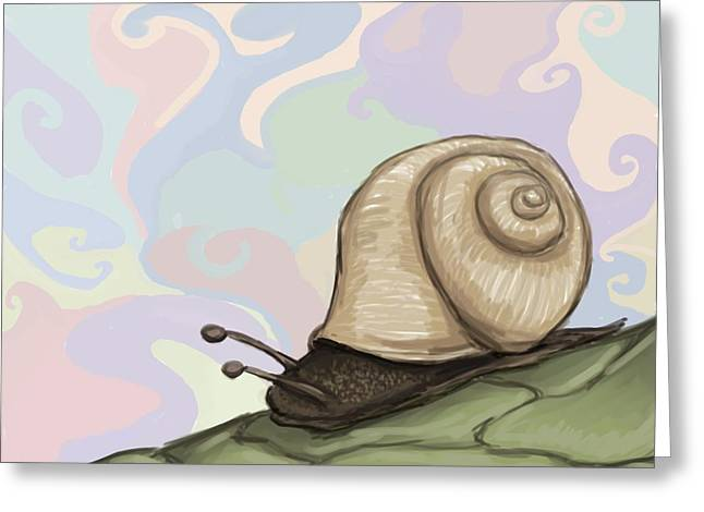 Funny Mario Art Greeting Cards - Pastel Slug Greeting Card by Mario Domingues