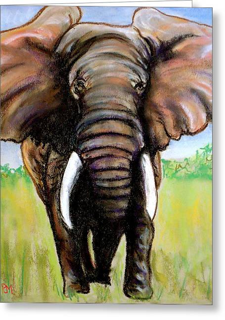 Elephant Pastels Greeting Cards - Pastelephant Greeting Card by Pete Maier