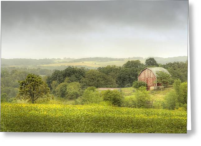 Overcast Greeting Cards - Pastoral Barn Greeting Card by Scott Norris