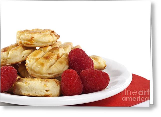 Pastries Greeting Cards - Pastries and raspberries Greeting Card by Blink Images