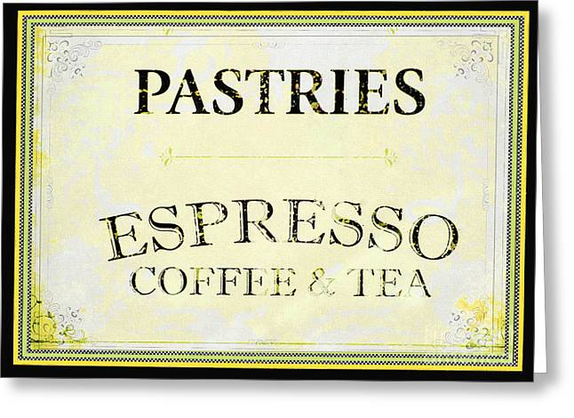 Snack Bar Greeting Cards - Pastries Coffee Sign Greeting Card by AdSpice Studios